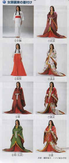 A woman dressed in junihitoe layer by layer. I prefer the bottom right for Helena. Japanese Outfits, Japanese Fashion, Asian Fashion, Japanese Geisha, Fashion Women, Traditional Fashion, Traditional Dresses, Hanfu, Heian Era