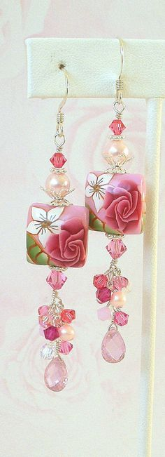 Pink floral earrings, polymer clay, strawberry, crystal
