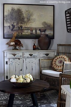 Country Landscape Painting in Sitting Room