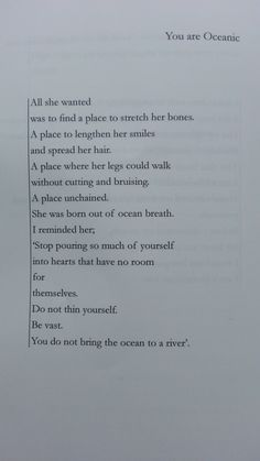"""""""You do not bring the ocean to a river."""" - You Are Oceanic by Tapiwa Mugabe from the book Zimbabwe"""