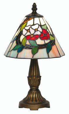 """The 8"""" Belle Tiffany style table lamp has a colourful decorative floral tiffany design glass shade complete with antique finished decorative base. Full range available from Luxury Lighting"""