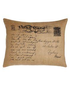 "Meadow Wreath Jute Burlap Postcard Pillow, 18"" x 24"", Natural - C & F Enterprises"