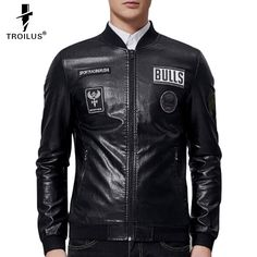 Find More Leather & Suede Information about Troilus 2016 Men Leather Jacket High grade Leather Coat Brand Black Male Bomber Motorcycle Biker Man's Letters Print Coat Autumn,High Quality coates builders,China coat Suppliers, Cheap coat kit from Troilus Flagship Store on Aliexpress.com