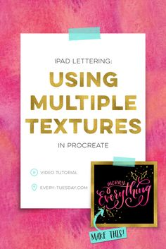 Learn a simple trick for using multiple textures in Procreate for iPad lettering! Video tutorial | every-tuesday.com via @teelac