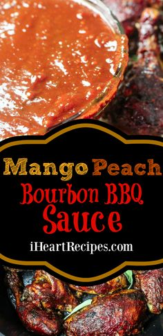 Mango Peach Bourbon BBQ Sauce Sauce Barbecue, Bbq Sauces, Barbecue Sides, I Heart Recipes, Simple Recipes, Mango Sauce, Brunch, Homemade Bbq, Homemade Seasonings
