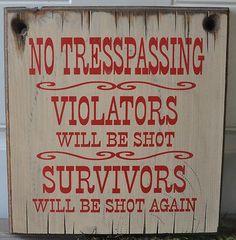 No Tresspassing Western Rustic Vintage Man Cave Ranch Farm Wood Sign Home Decor