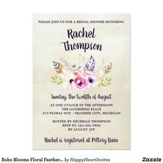 Boho Blooms Floral Feathers Bouquet Bridal Shower #boho #wedding #hippie #bohowedding #bohofloral #floral #weddingtrends #2018 #feathers #zazzle #weddinginspiration #weddinginvitations