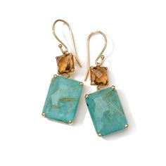 #IPPOLITA 18K #Gold Rock Candy Gelato Rectangle Snowman #Earrings in Cognac Citrine & Rutilated #Quartz #Turquoise Doublet