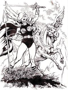 The Valkyrie and Aragorn, pencils and inks by comics artist Geof Isherwood