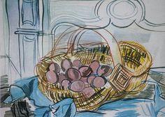 Raoul DUFY 1877-1953 Le panier aux aeufs Estampe 14 x