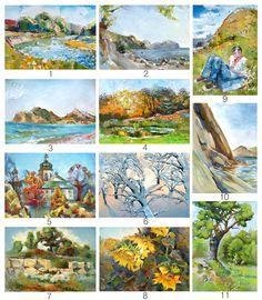 Huile paysages ACEO estampes mer arbre fleur par OlgaSternyk