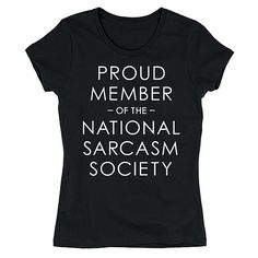 LC Trendz Black 'National Sarcasm Society' Fitted Tee ($13) ❤ liked on Polyvore featuring tops, t-shirts, plus size, fitted tops, graphic tops, fitted tee, plus size womens graphic tees and fitted graphic tees