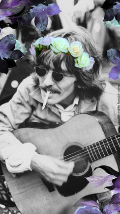 George Harrison. Black and white photo now colorized.