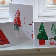 Potato Print Christmas Cards