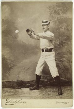"""In the late 1800s, baseball players didn't have the luxury of high-tech cameras to capture their in-game bravado. Instead, players would sometimes pose with imperceptibly hung baseballs in portrait studios.  This bit of camera legerdemain was supposed to make players appear as if they were furiously concentrating on America's pastime. More often than not, this trick made the athletes look like telekinetic popinjays with fantastic mustaches."""