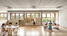 Architects Eduard Balcells, Ignasi Rius and Daniel Tigges have designed a wood-clad concrete kindergarten for the El Tiller Waldorf-Steiner School in Bellaterra, Spain.