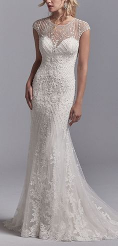 Sottero and Midgley - GRADY, This vintage-inspired wedding dress features a tulle overlay accented in geometric lace motifs with beading and pearls.