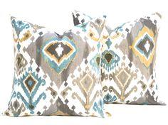 "Amazon.com: One Ikat Pillow Covers, 20"" Cushion, Decorative Throw Pillow, Decorative Pillow, Accent Pillow, Blue Pillow, Grey Pillow: Home & Kitchen"