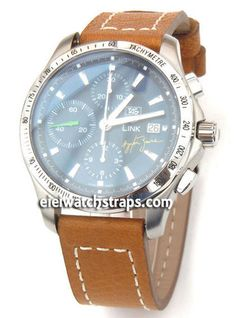 2b4176801 Double Thickness Cut Edge Saddle Brown Leather Watch strap For TAG Heuer  Link Watches
