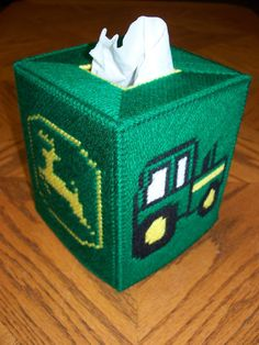 John Deere Tissue Box Cover Handmade Using Plastic Canvas | eBay