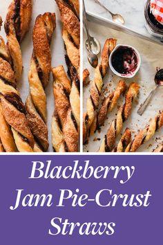 Blackberry Jam Pie-Crust Straws - puff pastry, any flavor jam Puff Pastry Recipes, Tart Recipes, Brunch Recipes, Breakfast Recipes, Dessert Recipes, Cooking Recipes, Dessert Food, Vegan Desserts, Just Desserts