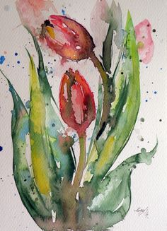 ARTFINDER: Tulip by Kovács Anna Brigitta - Original watercolour painting on high quality watercolour paper. I love landscapes, still life, nature and wildlife, lights and shadows, colorful sight. Thes...