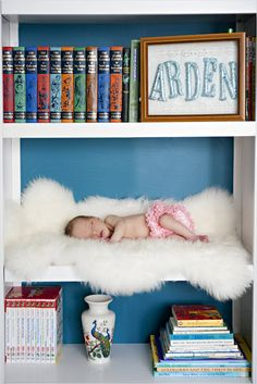 Darling Baby Picture Ideas. Including this baby in bookshelf photo.