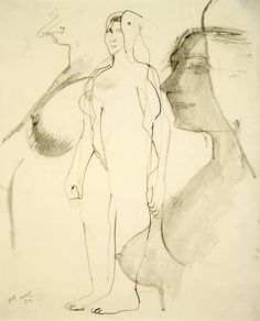 Henry Moore - Figure Drawing, 1932  Ink, wash on paper  43.2 x 34.9 cm / 17 x 13 3/4 in
