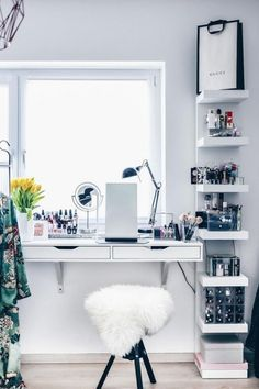 a windowsill beauty station and IKEA Lack shelves for additional storage