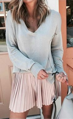 #fall #outfits  women's gray v-neck shirt with pink skirts