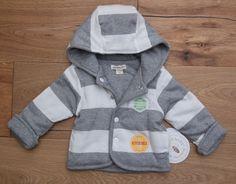 ec780fd87 Burt's Bees Baby Boy Reversible Hooded Jacket ~ Gray & Ivory ~ Organic  Cotton ~