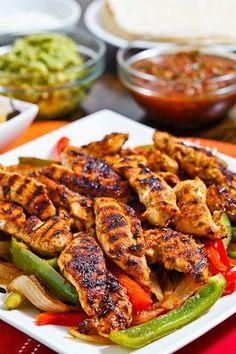 Chicken Fajitas with Salsa and Guacamole