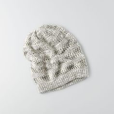 American Eagle Slouchy Pointelle Beanie ($16) ❤ liked on Polyvore featuring accessories, hats, ivory, slouchy hat, saggy beanie, ribbed beanie, slouch beanie and american eagle outfitters