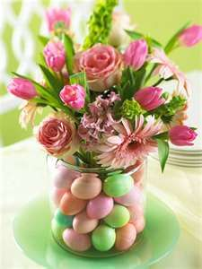 Love this Easter floral arrangement with the eggs underneath...