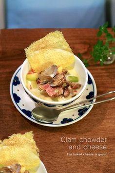 カリカリチーズとクラムチャウダー|レシピブログ