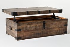 Rustic Wood Box, Barn Wood, Coffee Table Living Spaces, Lift Up Coffee Table, Industrial Furniture, Wood Furniture, Furniture Ideas, Build A Closet, Trunks And Chests