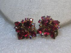 "Austria Red Rhinestone Clip Earrings, 1950's, Marquis, Aurora Borealis, 1"""