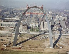 The placing of last link in the Gateway Arch, 1965, in St. Louis, Missouri. The city of St. Louis is in the background. (AP)