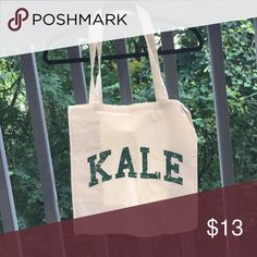 Kale Tote Kale Tote // very trendy // new homemade item // { price is firm }  I'll only consider offers made with the offer button.💰 No trades or low ball offers.🚫 My items are already extremely discounted and sell very fast. So, if you see something you like... make an offer! 😊❤️  Thanks for looking around my closet! I am always adding new items! 💖🎀👗👛👠💄  BUNDLE & SAVE 10%!  Top 10% rated seller// suggested user✨ Soshelbie Bags Totes