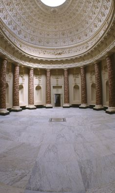 The Marble Hall, Stowe House, Buckinghamshire - The room was probably designed by Vincenzo Valdrè, the basic structure was built between 1775 and 1777 but decoration was probably only complete by 1788