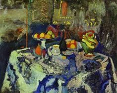 La vie immobile avec le vase, la bouteille et le fruit. c. 1903-6. Huile sur la toile. L'Ermitage, Rue Petersburg, Russie. ✏✏✏✏✏✏✏✏✏✏✏✏✏✏✏✏  ARTS ET PEINTURES - ARTS AND PAINTINGS  ☞ https://fr.pinterest.com/JeanfbJf/pin-peintres-painters-index/ ══════════════════════  Gᴀʙʏ﹣Fᴇ́ᴇʀɪᴇ ﹕☞ http://www.alittlemarket.com/boutique/gaby_feerie-132444.html ✏✏✏✏✏✏✏✏✏✏✏✏✏✏✏✏