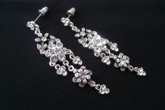 Art deco crystal rhinestone tibetan silver chandelier earrings wedding jewelry bridal earrings bridal jewelry bridesmaid gifts