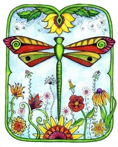Dragonfly Garden. Tattoo idea. Sunflowers and daisies are the flowers I love