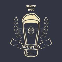 beer banner wheat: A glass of fresh Beer hops and malt. Vintage emblem.