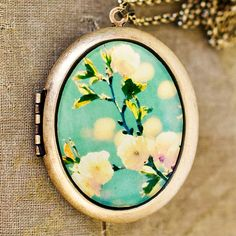 Photo Locket  Song For Spring  Romantic Yellow by HeartworksByLori, $60.00