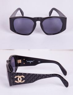 324c00df9b6 CHANEL Womens 01450 94305 Black Quilted VINTAGE Rectangular CC Logo  Sunglasses  CHANEL  Rectangular
