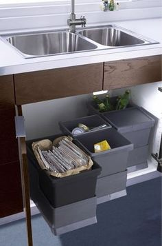 Recycling and trash. Having your recycling bins and trash can on rollout shelves in one spot makes it a snap to sort items. This is a big time saver if you can avoid multiple trips to the garage or even outside, where recycle bins often reside.