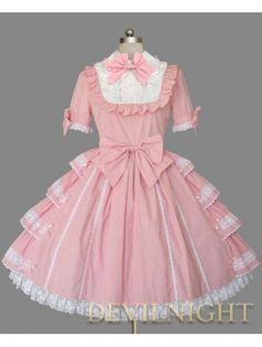 Pink and White Short Sleeves Bow Sweet Lolita Dress