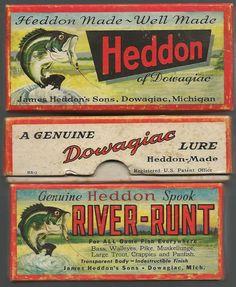Vintage fishing lure boxes.