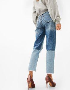 Kontrast paçalı Girlfriend fit Jeans - Denim - Bershka Turkey